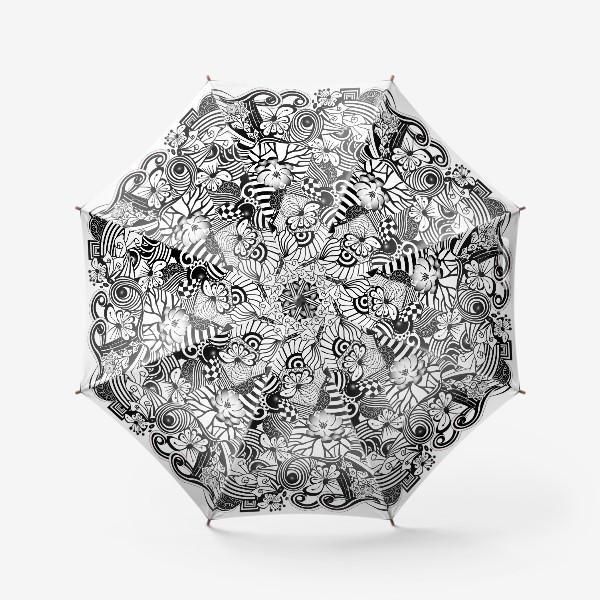 Зонт «Zenart Anti-stress picture flowers and figures Doodle black and white.»