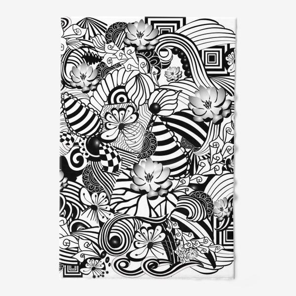 Полотенце «Zenart Anti-stress picture flowers and figures Doodle black and white.»