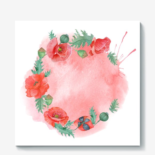 Холст «Watercolor floral frame of red poppies on a delicate background. Perfect for a wedding.»