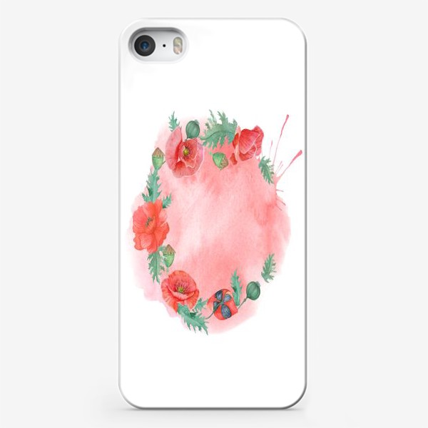 Чехол iPhone «Watercolor floral frame of red poppies on a delicate background. Perfect for a wedding.»