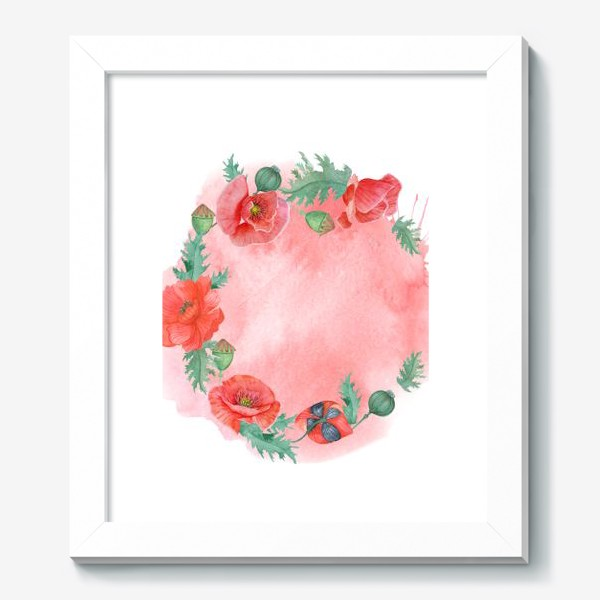 Картина «Watercolor floral frame of red poppies on a delicate background. Perfect for a wedding.»