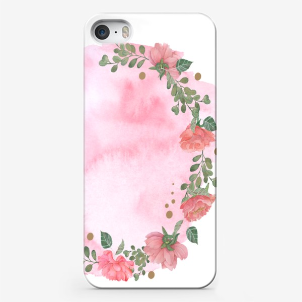 Чехол iPhone «Watercolor floral frame. Wedding invitation.»