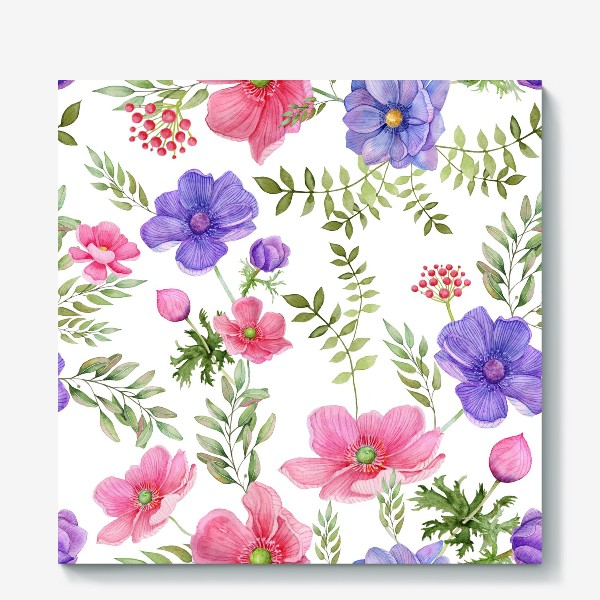 Холст «Seamless pattern of pink and purple meadow flowers on a white background»