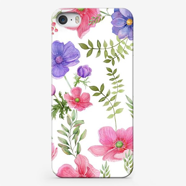 Чехол iPhone «Seamless pattern of pink and purple meadow flowers on a white background»