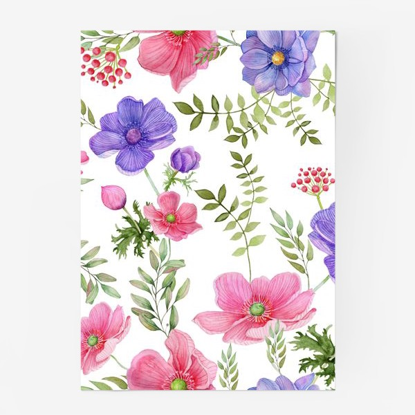 Постер «Seamless pattern of pink and purple meadow flowers on a white background»