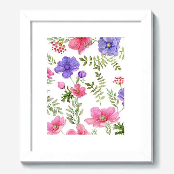 Картина «Seamless pattern of pink and purple meadow flowers on a white background»