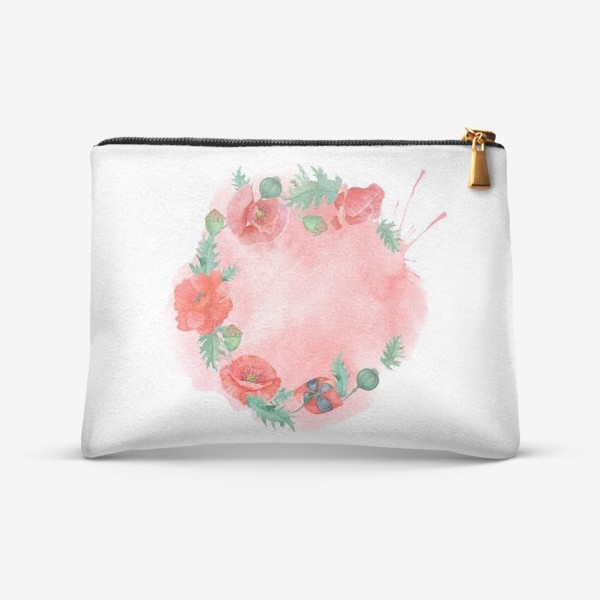 Косметичка «Watercolor floral frame of red poppies on a delicate background. Perfect for a wedding.»
