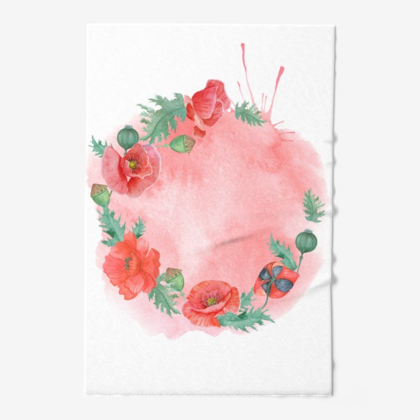 Полотенце «Watercolor floral frame of red poppies on a delicate background. Perfect for a wedding.»