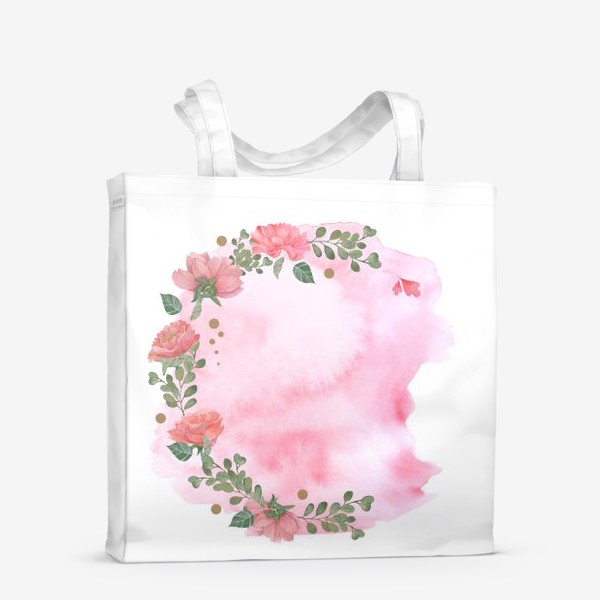 Сумка-шоппер «Watercolor floral frame. Wedding invitation.»