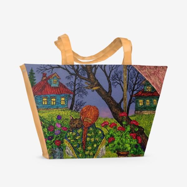 Пляжная сумка «Сумерки в деревне»