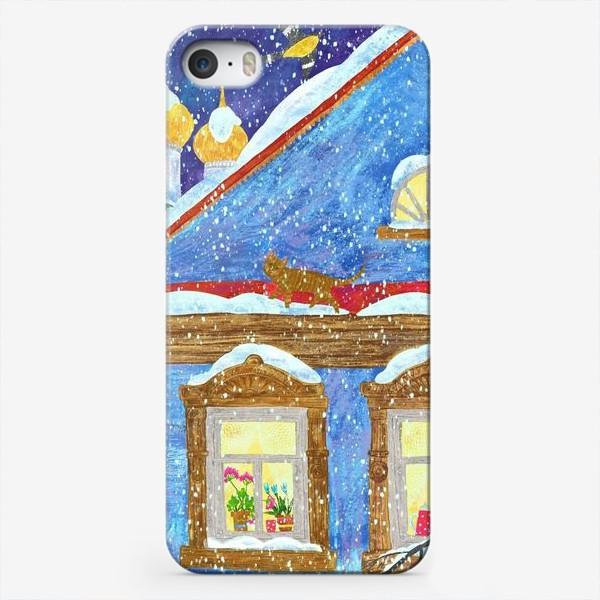 Чехол iPhone «Зимний вечер в деревне»