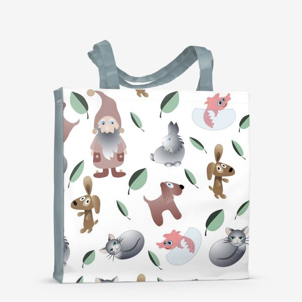 Сумка-шоппер «pattern cartoon little animals and gnome.»