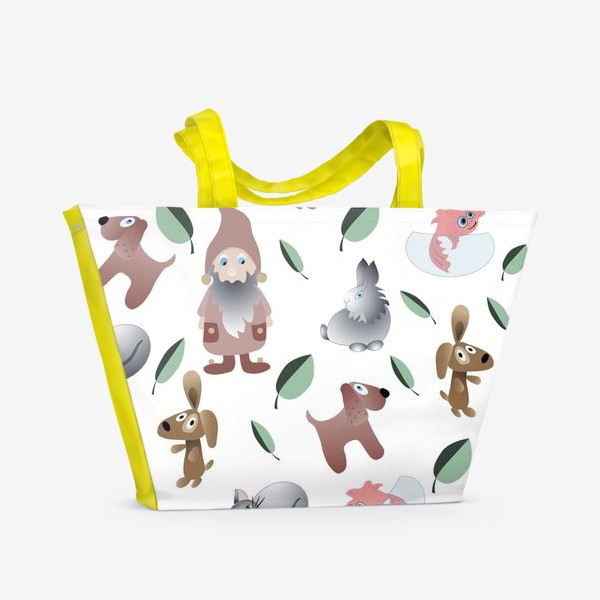 Пляжная сумка «pattern cartoon little animals and gnome.»