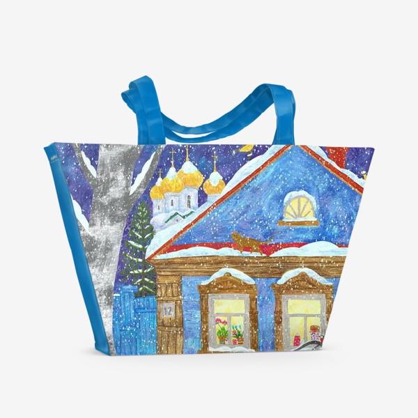 Пляжная сумка «Зимний вечер в деревне»