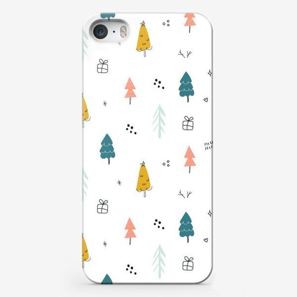 Чехол iPhone «Зимний дудл паттерн в скандинавском стиле с елочками. Минимализм.»