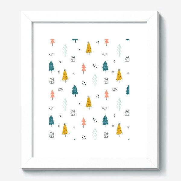 Картина «Зимний дудл паттерн в скандинавском стиле с елочками. Минимализм.»