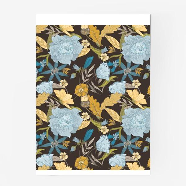 Постер «Винтажный осенний цветочный узор»
