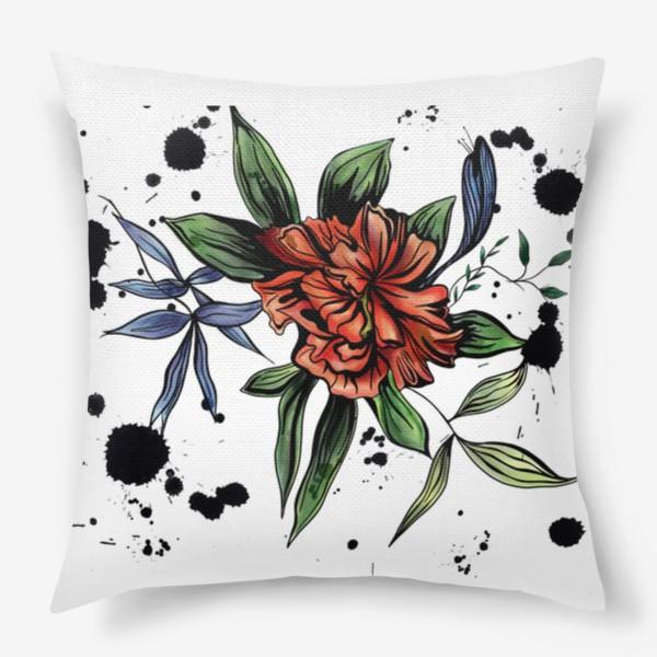 Подушка «Красный цветок с черными брызгами»