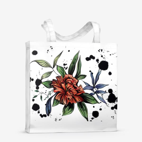 Сумка-шоппер «Красный цветок с черными брызгами»