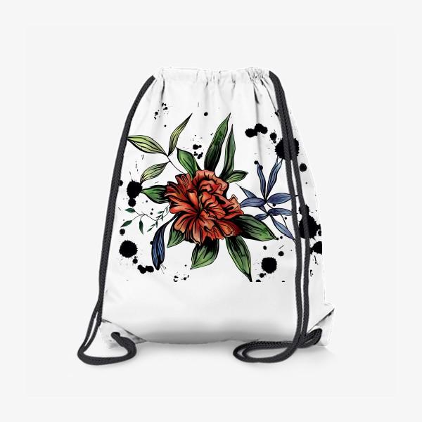 Рюкзак «Красный цветок с черными брызгами»