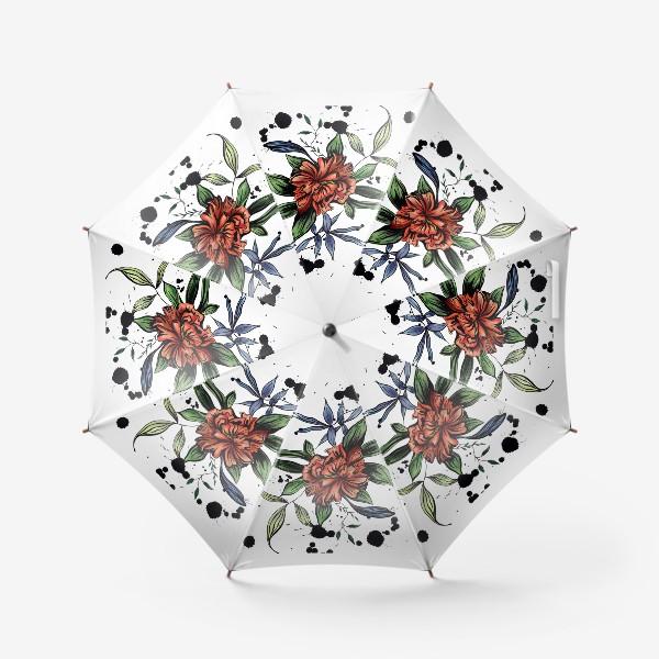 Зонт «Красный цветок с черными брызгами»