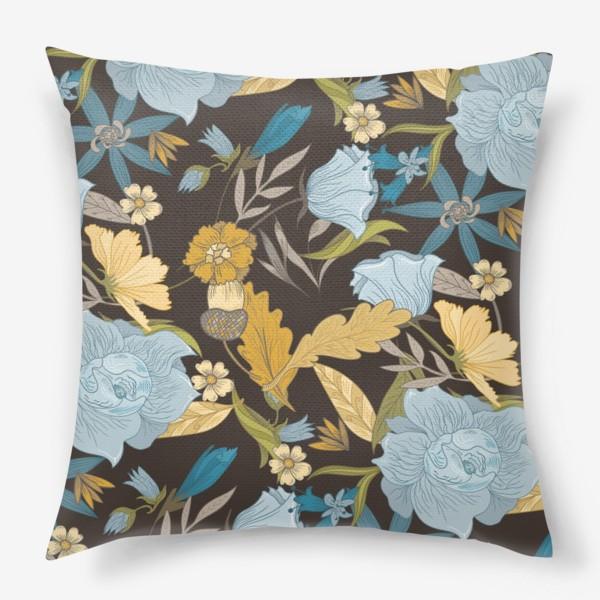 Подушка «Винтажный осенний цветочный узор»