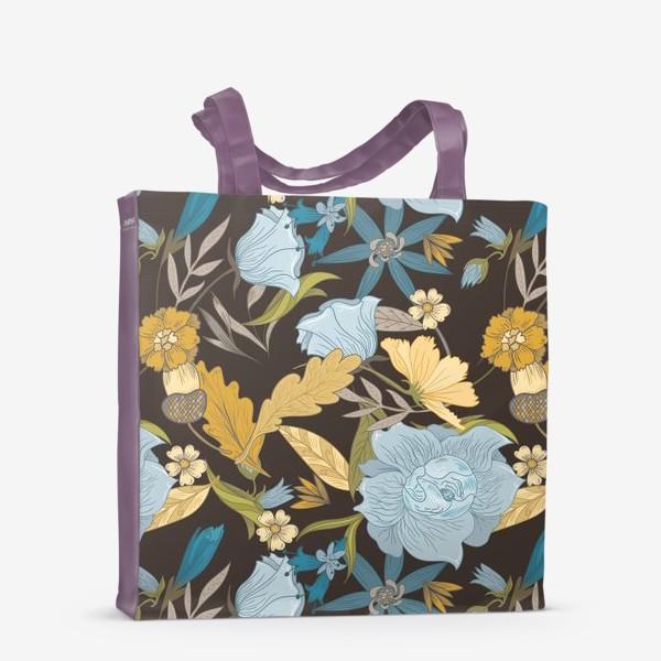 Сумка-шоппер «Винтажный осенний цветочный узор»