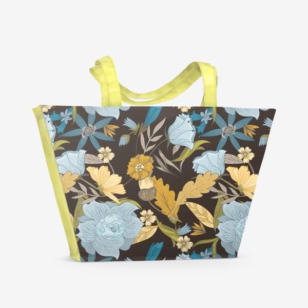 Пляжная сумка «Винтажный осенний цветочный узор»