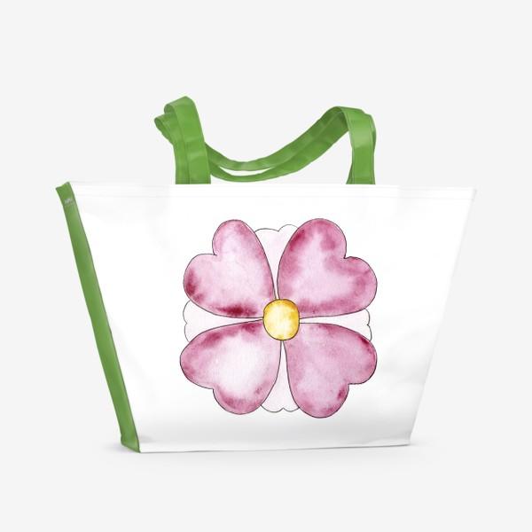 Пляжная сумка «Цветок. Лепестки в виде сердца. От сердца.»