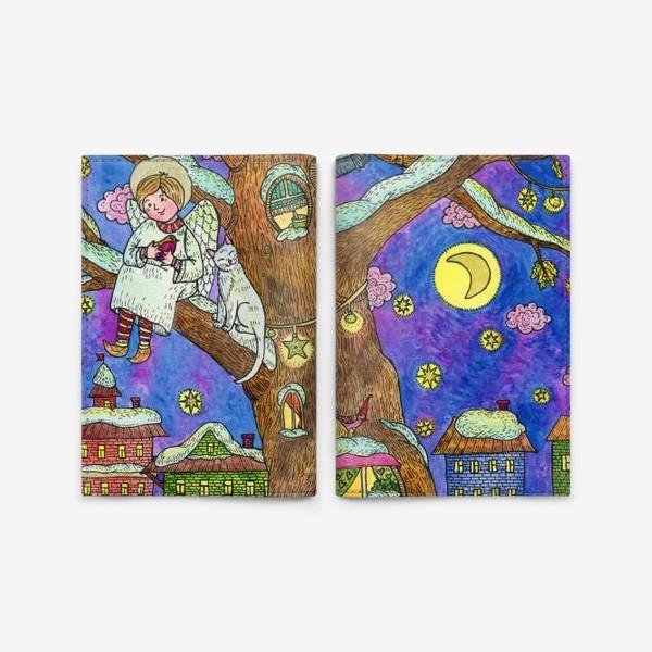 Обложка для паспорта «С Новым годом и Рождеством!  Добрый ангел»