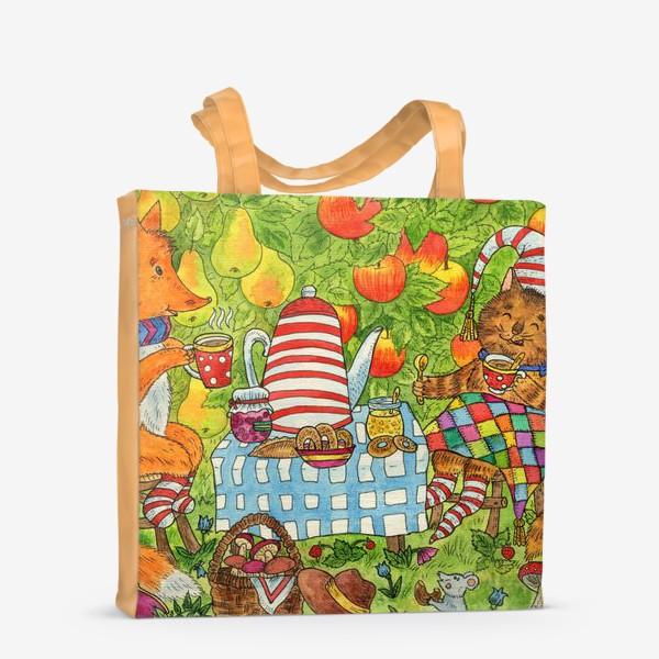Сумка-шоппер «Уютное чаепитие котика и лисёнка в саду»