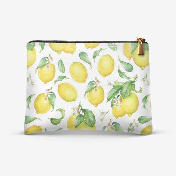 Косметичка «Паттерн с лимонами светлый»