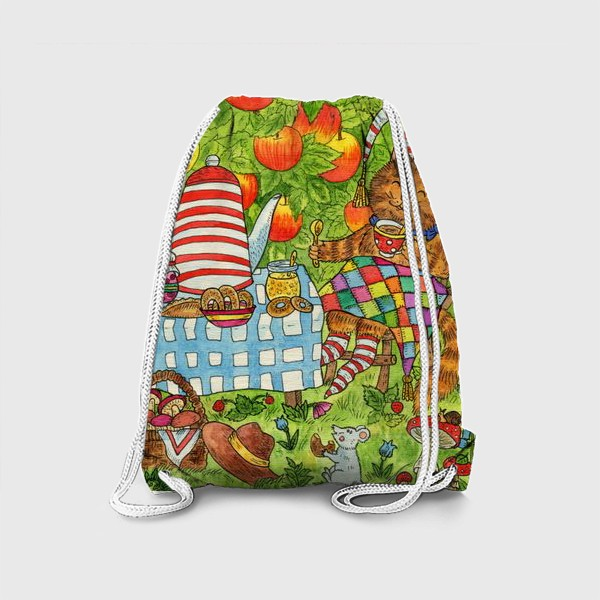 Рюкзак «Уютное чаепитие котика и лисёнка в саду»
