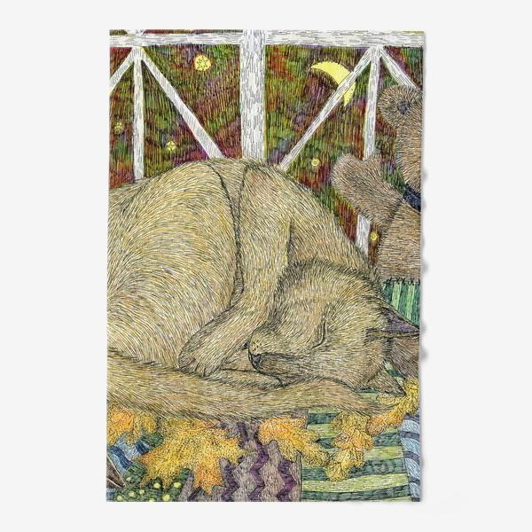 Полотенце «Кот и мишка тедди»