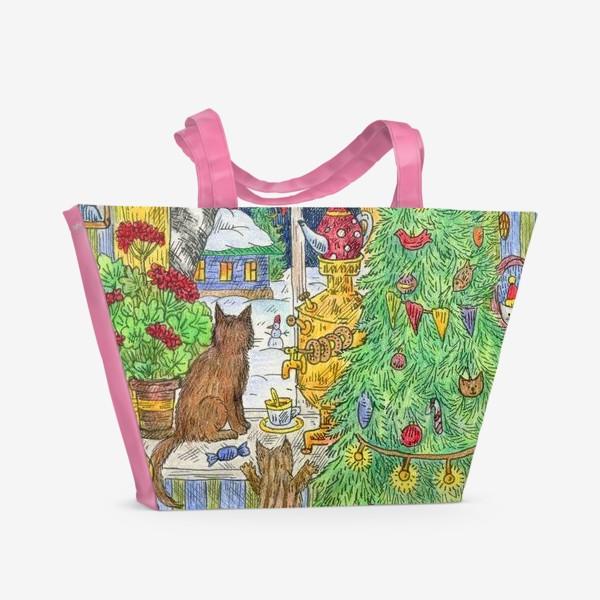 Пляжная сумка «Новый год в избушке»