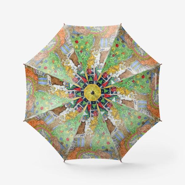 Зонт «Новый год в избушке»