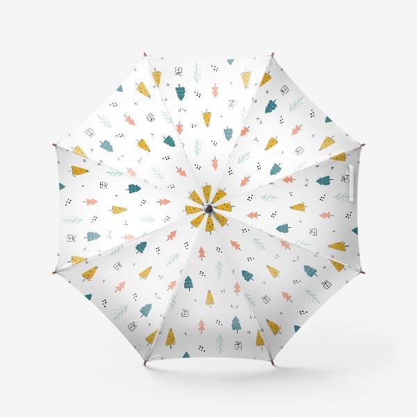 Зонт «Зимний дудл паттерн в скандинавском стиле с елочками. Минимализм.»
