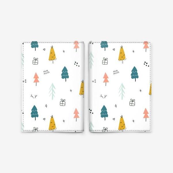 Обложка для паспорта «Зимний дудл паттерн в скандинавском стиле с елочками. Минимализм.»