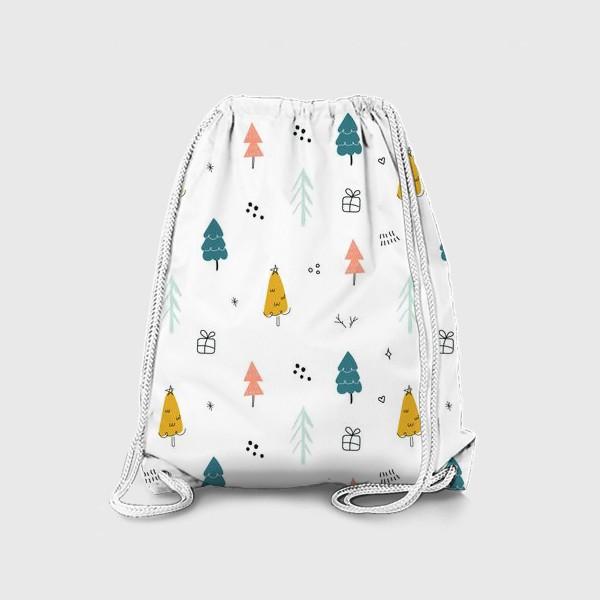 Рюкзак «Зимний дудл паттерн в скандинавском стиле с елочками. Минимализм.»