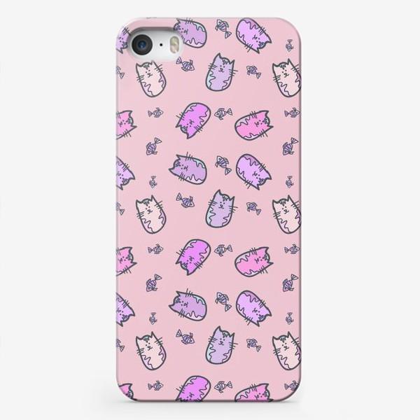 Чехол iPhone «Лиловые коты»