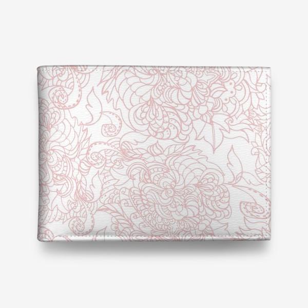 Кошелек «Розовый узор на белом фоне»