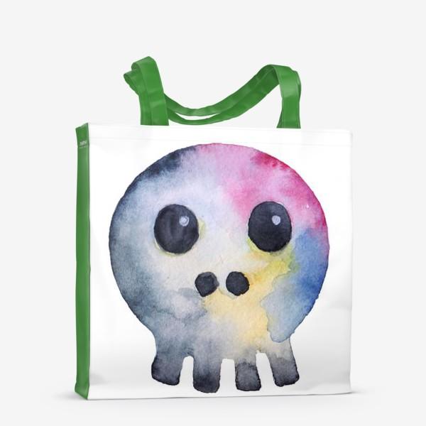 Сумка-шоппер «Watercolor skull. Multicolor and cartoonish style.»