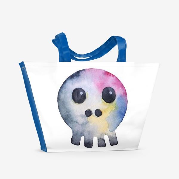 Пляжная сумка «Watercolor skull. Multicolor and cartoonish style.»