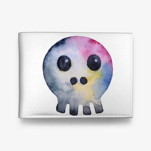 Кошелек «Watercolor skull. Multicolor and cartoonish style.»