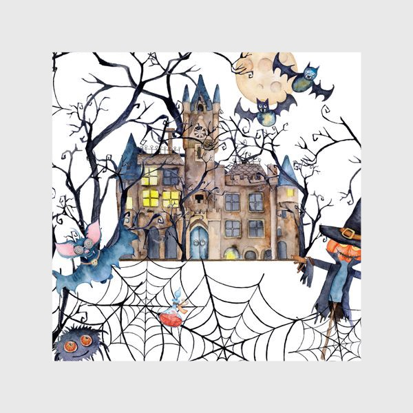 Шторы «Seamless pattern halloween, spider web and dry trees. »