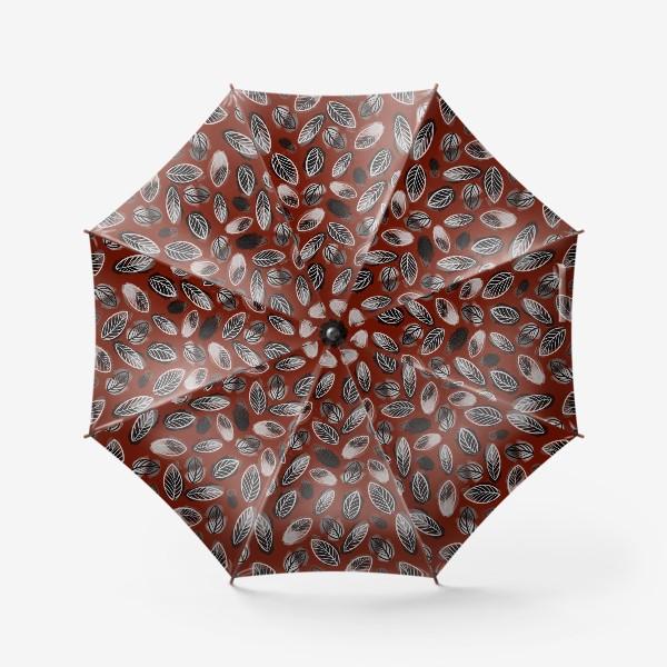 Зонт «Осенний узор. Акварельные листья на красном фоне»