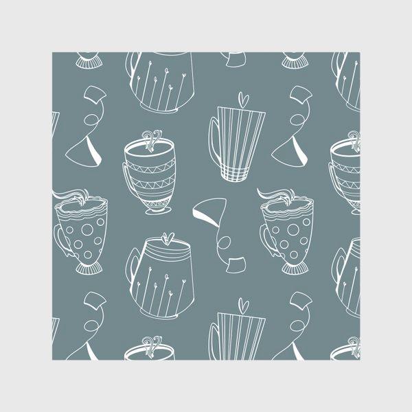 Скатерть «Чайные чашки и сердечки на темном мятном»