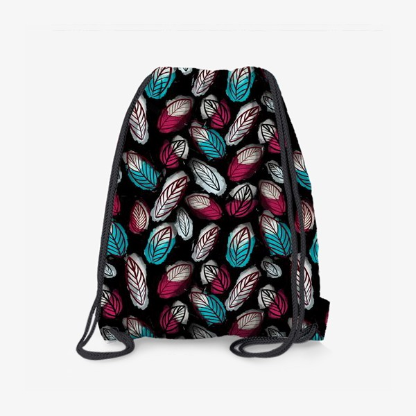 Рюкзак «Акварельный паттерн с листьями на черном фоне. Осенний узор»