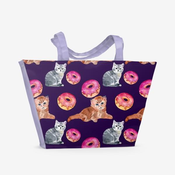 Пляжная сумка «котята и пончик»