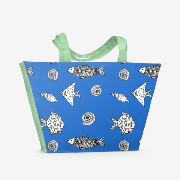 Пляжная сумка «Рыбы и ракушки»